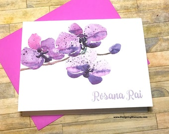 Purple Orchid Personalized Stationery - Custom Watercolor Orchid Flower Note Cards - Delicate Orchid Stationary - Thank You Cards DM179