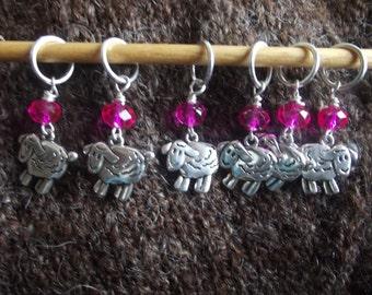 Baaaaa!  Pink bead and silver Sheep Knitting Markers ( six)