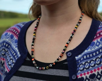 """Long Mini Crystal Liquorice Allsorts Necklace Polymer Clay Sweets 22"""""""