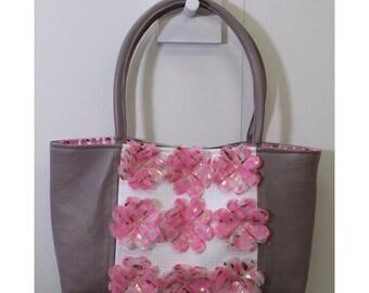 Leather hand silk-screen printed tote bag
