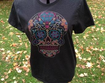 Rhinestud Sugar Skull, Ladies T-Shirt, Day of the Dead, Diamond and Flowers
