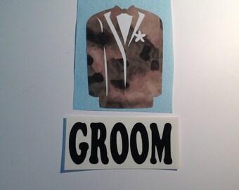 DIY Groom Camo Tuxedo Vinyl Decals Make Your Own Wedding Tumbler or Mason Jar