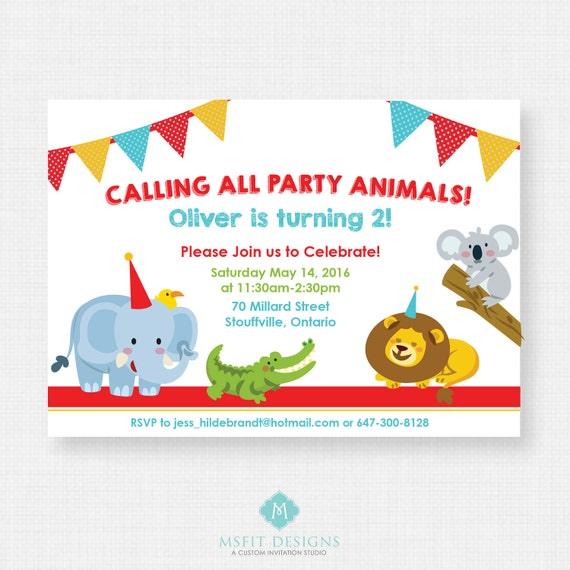 Printable Birthday Invitation Party Animal Birthday Party
