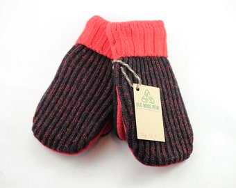 Red and Black Wool Mittens Upcycled Mittens, MEDIUM,  Wool Sweater OldWoolNew Recycled Sweater Mittens, Mismatched