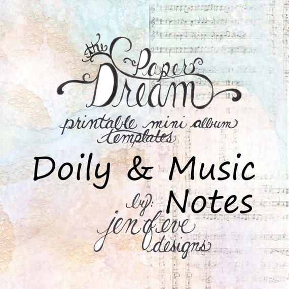 The Paper Dream Printable Mini Album Templates in Doily, Music Notes, and Plain