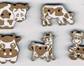 Cows - Set of 5 decorative buttons made from MDF with white lacquer.  Great addition to your stitching projects.  Made in France
