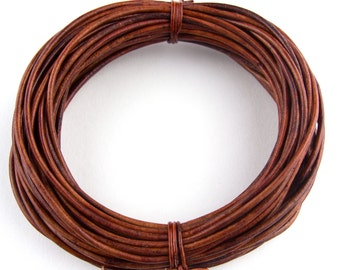 Brown Distressed Red Round Leather Cord 1.5mm 25 meters (27 yards)