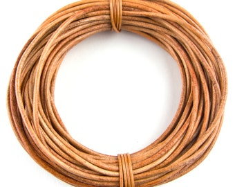 Tan Round Leather Cord 2mm 10 Feet
