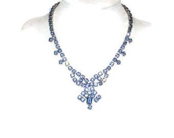 ON SALE!! By Gale Creations Ice Blue Rhinestone Necklace, Glamorous & Sophisticated