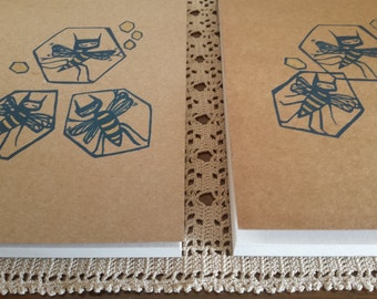 screenprinted notebook, plain notebook, blank sketchbook, sketchpad, bee, bee illustration, handfinished design, limited edition book