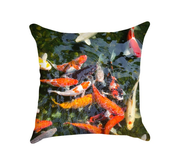 Japan Coy Pond Pillow Modern Graphic Animal Print Fine Art
