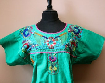 Frida Style Colorful Mexican Dress with Embroidered Flowers- Green- Summer-BOHO-Hippie (Large)