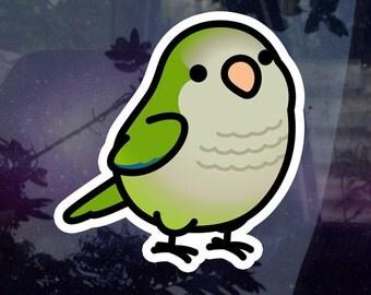 "Chubby Quaker Parrot Sticker - Green 3.5"" Sticker [Outdoor Quality]"