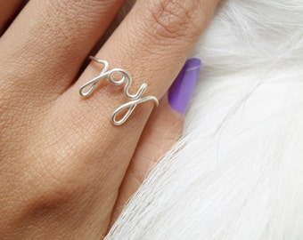 Sterling Silver Joy Ring / Gold filled joy ring / Rose gold filled joy ring / Wire word ring