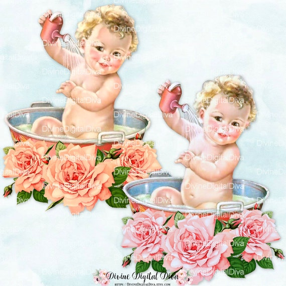 Vintage Baby Bath Washtub Pink & Peach Roses Clipart