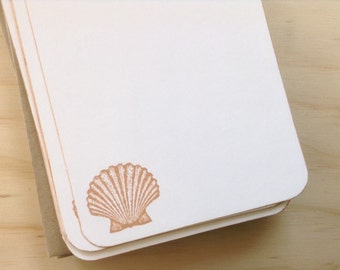vintage inspired flat note cards and envelopes, seashell, stationery set, set of 10