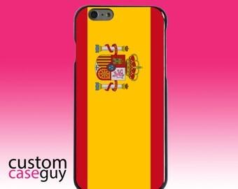 Hard Snap-On Case for Apple 5 5S SE 6 6S 7 Plus - CUSTOM Monogram - Any Colors - Spain Spanish Flag