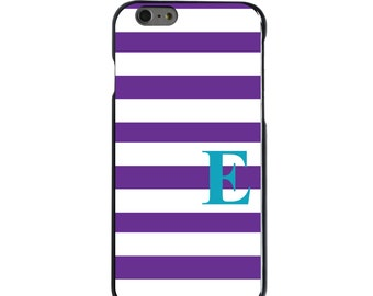 Hard Snap-On Case for Apple 5 5S SE 6 6S 7 Plus - CUSTOM Monogram - Any Colors - Purple White Teal Stripes