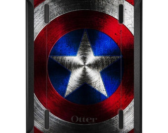 Custom OtterBox Defender for Apple iPad 2 3 4 / Air 1 2 / Mini 1 2 3 4 - CUSTOM Monogram - Red White Blue Shield