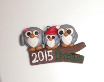 Cute owl family Christmas ornament with name