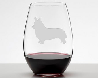 Corgi, Welsh Corgi Wine Glass, Etched Stemless Wineglass