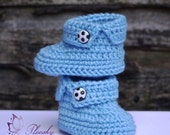 Blue Handmade Crochet Knitted Baby Babies Infant Girl Boys Toddlers boots football booties socks shoesNewborn Gift setBaby shower gift