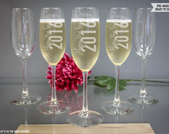 Happy New Year Champagne Glass - (ONE) Engraved NYE Toasting Flute - New Years Eve Party Decorations - Holiday Gift - 2016 New Years Gift