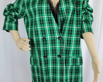 Green plaid pendleton blazer