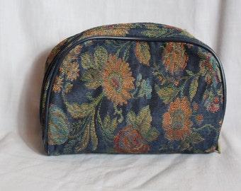 80s floral make up bag