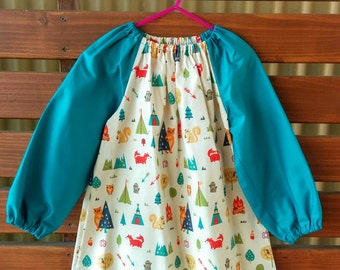 Kids Long Sleeve Art Smock - Size 3-4. Into the Woods.