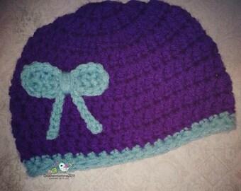 Crochet bow toddler hat