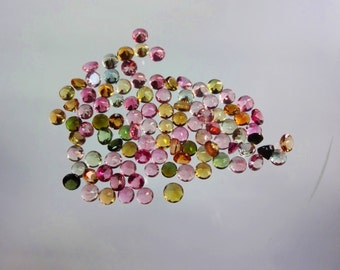 125-pc lot Natural AAAA quality Multi Tourmaline cut stone round shape app pieces eye clean size 2.5mm GW945