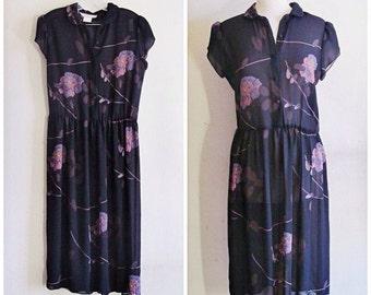 SALE 70s does 30s // Vintage 70s Dress // 1970s Sheer Black Floral Dress