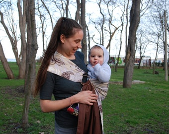 Baby Sling Ring/Brown Baby sling/Baby wrap carrier/ Reversible Baby ring Sling/Baby Wrap/Baby sling