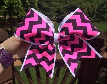 Pink and Black Chevron Bow