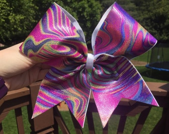 Purple Swirl Pattern Cheer Bow