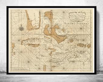 Old Map of Bahamas, Bahama Islands 1737
