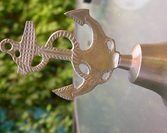 French antique Solid brass engraved Anchor desk bell old bell sea smybol ship anchor
