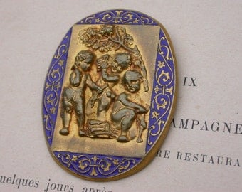 French antique art deco blue enamel ornate  baby angel tree flower child children gold plated solid bronze large brooch
