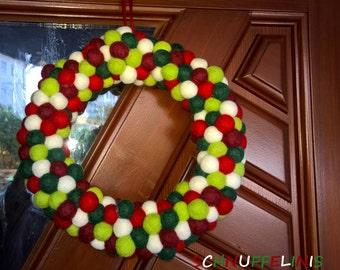 Door Wreath, Felt ball Wreath, Modern Front Door Wreath, Door Decor, Modern Home Decor, Holiday Door Decor