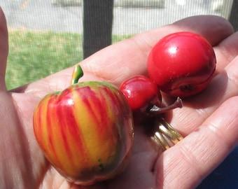 Lot Of Vintage Miniature Artificial Apples Cherry