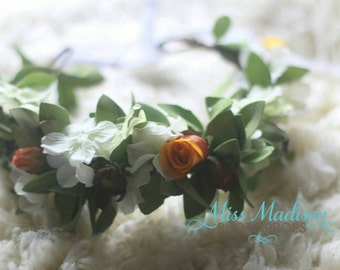 FLOWER CROWN for Photo Shoot/ Fall/ Autumn/ Head Wreath/ Bridal/ Photography Prop, Woodland Grapevine Floral Crown Head Wreath, RTS