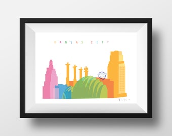Kansas City Skyline Print - One