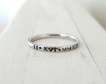 Stacking rings Personalized ring Tiny 2mm roman numeral Ring Hand Stamped stacking ring Stainless Steel mothers ring hypoallergenic comfort