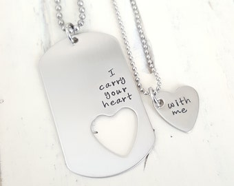 I carry your heart with me Long Distance Relationship his and her gift stainless steel heart dog tag hand stamped military couple gift