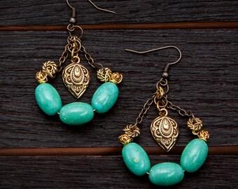 Gold & Turquoise Teardrop Earrings