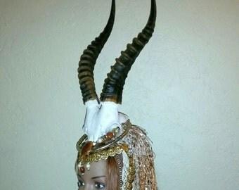 Forest Druid Goddess Tribal  Barbarian Headdress with Antelope Antler Horns