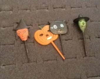 vintage halloween plastic cup cake picks set of 4