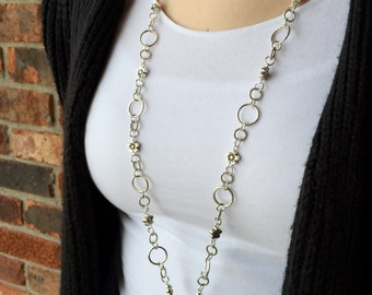 Sweet Little Silver Flower Lanyard Necklace - Beaded Lanyard