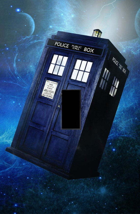 Clear resin coated light switch cover doctor by for Tardis light switch cover
